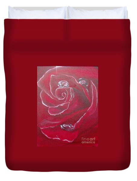 Duvet Cover featuring the painting Red by Saundra Johnson