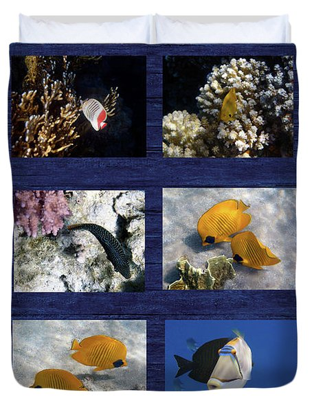 Red Sea Sealife Collage Duvet Cover