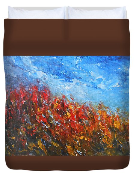Duvet Cover featuring the painting Red Sensation by Jane See