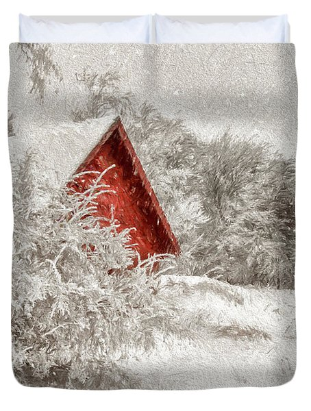 Red Shed In The Snow Duvet Cover