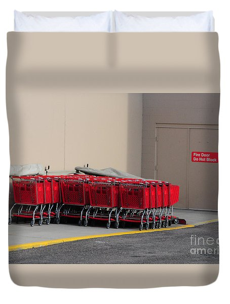 Red Shopping Carts In A Row Duvet Cover by Merrimon Crawford