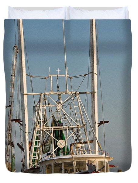 Red Shrimp Boat Duvet Cover by Christopher Holmes