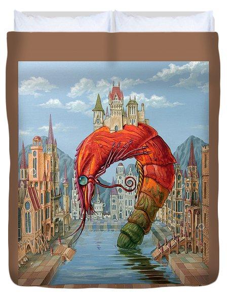 Red Shrimp Duvet Cover