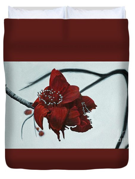 Red Silk Cotton Flower Duvet Cover by Jennifer Watson