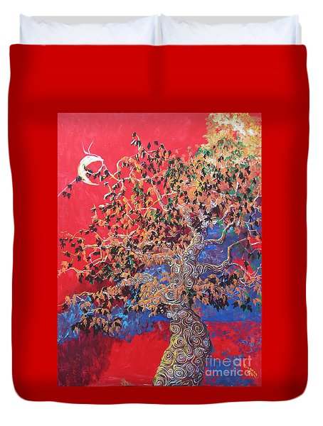 Red Sky And Tree Duvet Cover