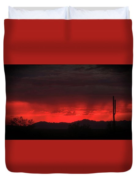 Red Sky At Night Duvet Cover