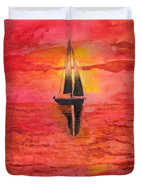 Red Sky At Night Sailors Delight Watercolor Duvet Cover