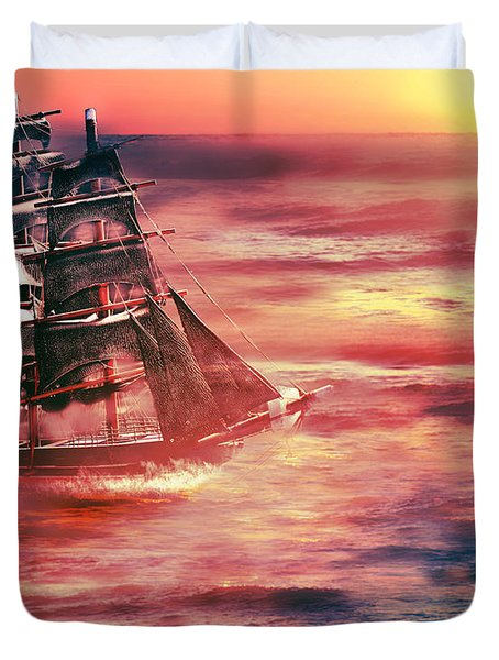 Red Sky In The Morning.... Sailors Take Warning Duvet Cover by Gray  Artus