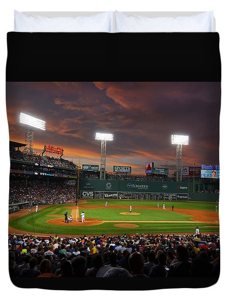 Red Sky Over Fenway Park Duvet Cover