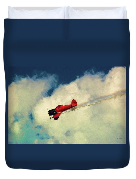 Red Sky Writer Duvet Cover