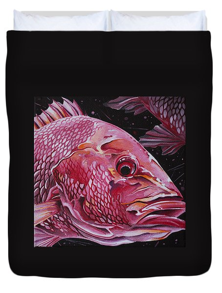 Duvet Cover featuring the painting Red Snapper by William Love