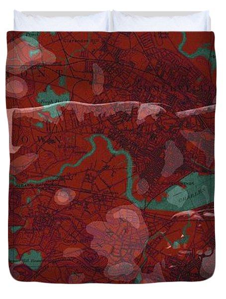 Red Sox Baseball Player On Boston Harbor Map Duvet Cover