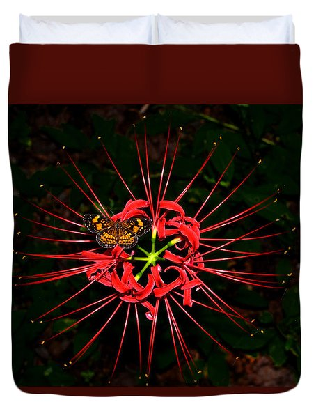 Red Spider Lily And Painted Lady Butterfly 001 Duvet Cover by George Bostian