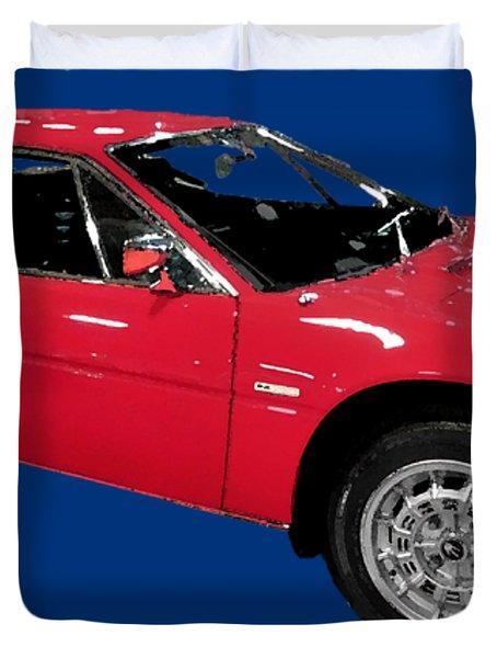 Red Sport Car Art Duvet Cover