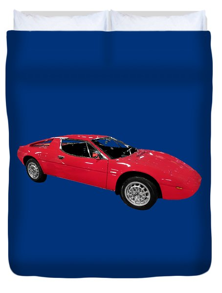 Red Sport Car Art Duvet Cover