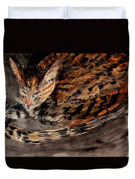 Red Spot Tabby Duvet Cover