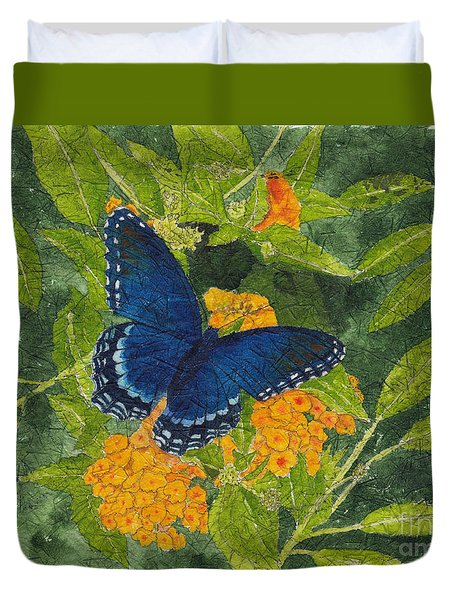 Red Spotted Purple Butterfly Batik Duvet Cover