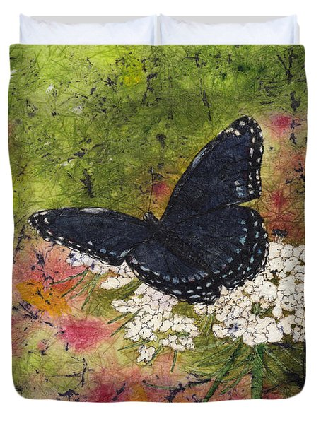 Red Spotted Purple Butterfly Queen Annes Lace Batik Duvet Cover