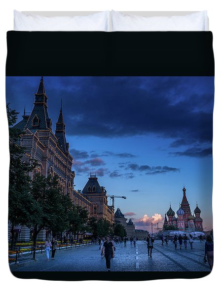 Red Square At Dusk Duvet Cover