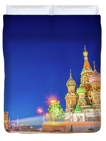 Red Square At Night Duvet Cover