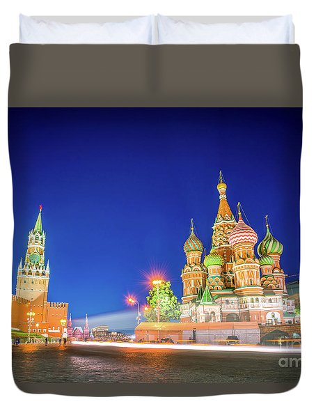 Duvet Cover featuring the photograph Red Square At Night by Delphimages Photo Creations