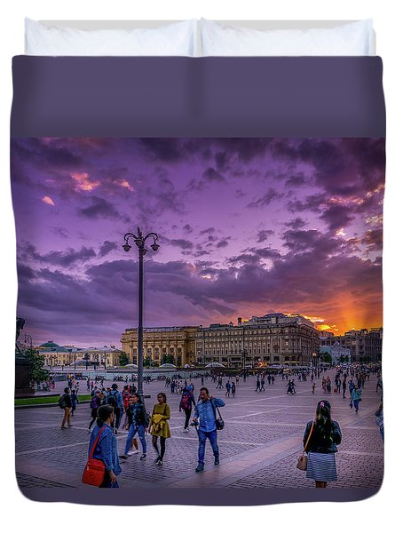 Red Square At Sunset Duvet Cover