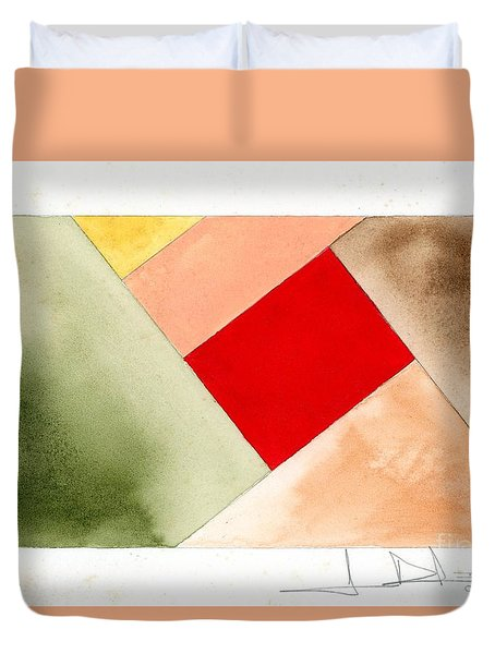 Red Square Tanned Duvet Cover