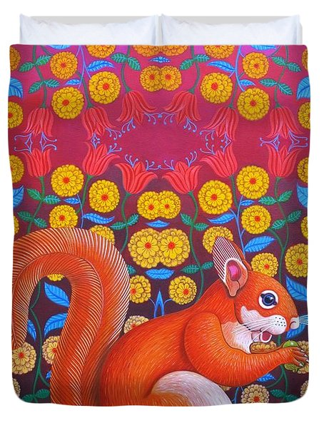 Red Squirrel Duvet Cover by Jane Tattersfield