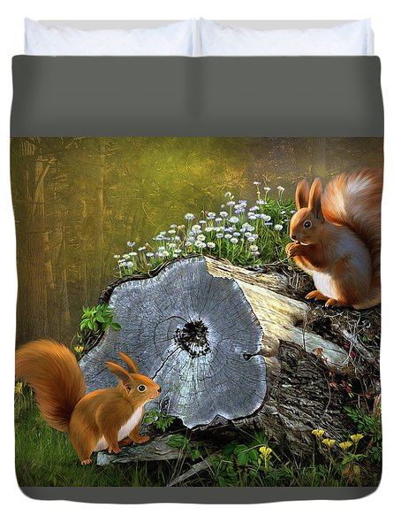 Duvet Cover featuring the digital art Red Squirrels by Thanh Thuy Nguyen