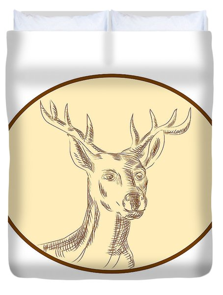 Red Stag Deer Head Circle Etching Duvet Cover by Aloysius Patrimonio