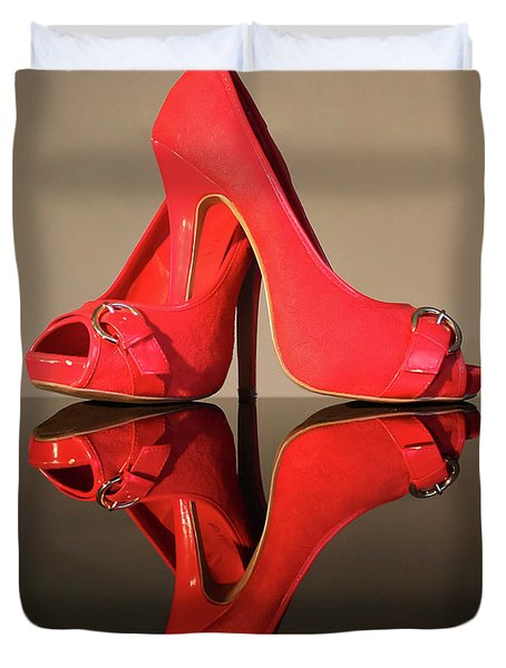 Duvet Cover featuring the photograph Red Stiletto Shoes by Terri Waters
