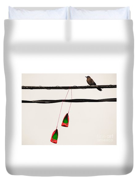 Red Stilettos With Bird Duvet Cover