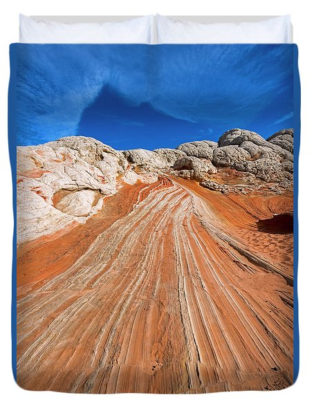 Duvet Cover featuring the photograph Red Stone Highway by Mike Dawson
