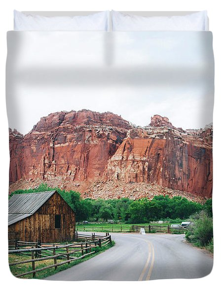 Red Stone Mountain  Duvet Cover