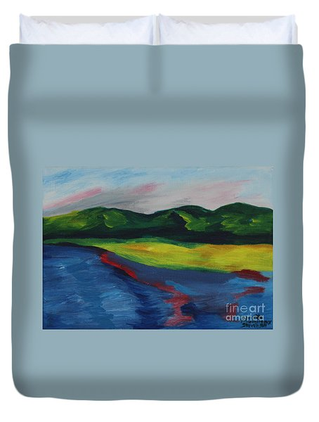 Red Streak Lake Duvet Cover