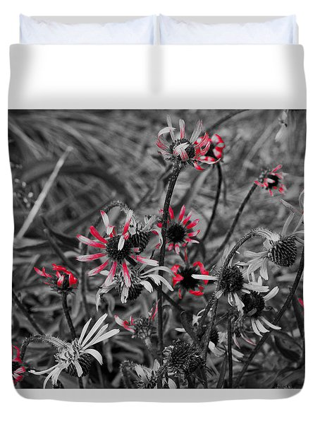 Duvet Cover featuring the photograph Red Streaks by Deborah  Crew-Johnson