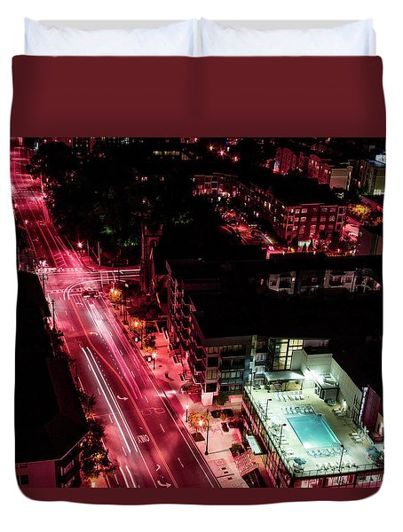 Red Streets Duvet Cover