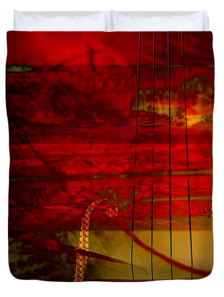 Red Strings Duvet Cover