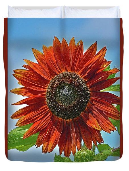 Red Sunflower Portrait Duvet Cover