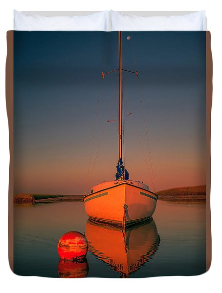 Red Sunrise Reflections On Sailboat Duvet Cover by Dapixara Art