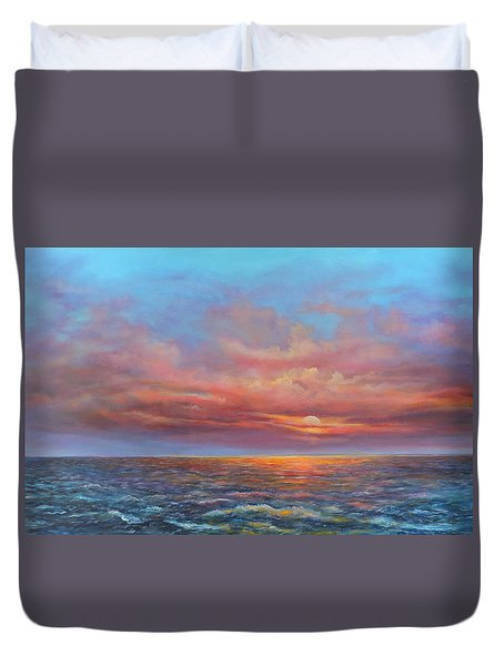Red Sunset At Sea Duvet Cover