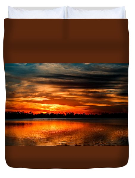 Red Sunset Duvet Cover by Doug Long