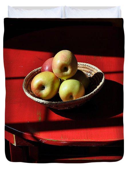 Red Table Apple Still Life Duvet Cover