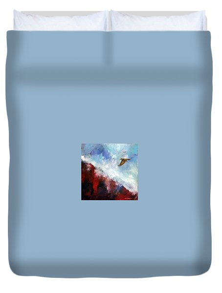 Red Tail Duvet Cover by David  Maynard