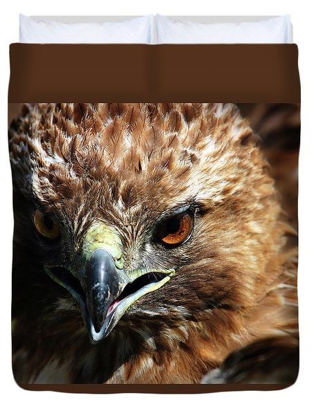 Duvet Cover featuring the photograph Red-tail Hawk Portrait by Anthony Jones