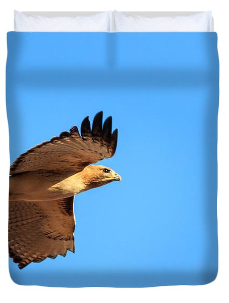 Red Tail In Flight Duvet Cover