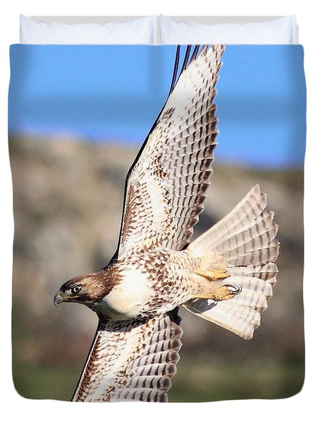 Red Tailed Hawk - 20100101-8 Duvet Cover by Wingsdomain Art and Photography