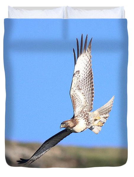 Red Tailed Hawk 20100101-6 Duvet Cover by Wingsdomain Art and Photography