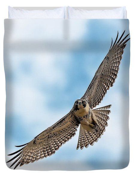Red-tailed Hawk Coming At Me Duvet Cover
