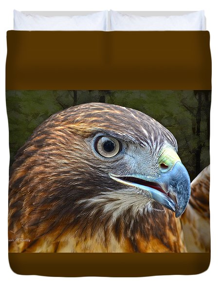 Red-tailed Hawk Portrait Duvet Cover by Sandi OReilly